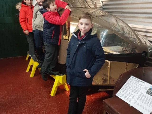 Exploring the helecopter at Air Museum